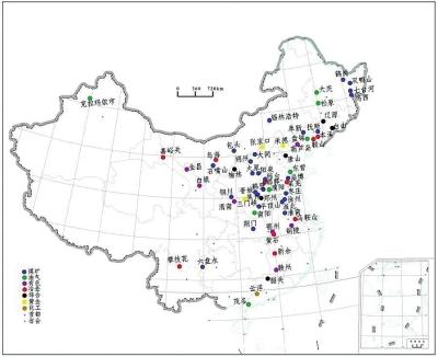 中国地级以上矿业城市分布图