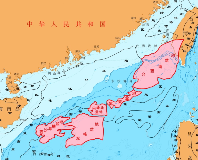 配图:已圈定南海北部深水区沉积盆地
